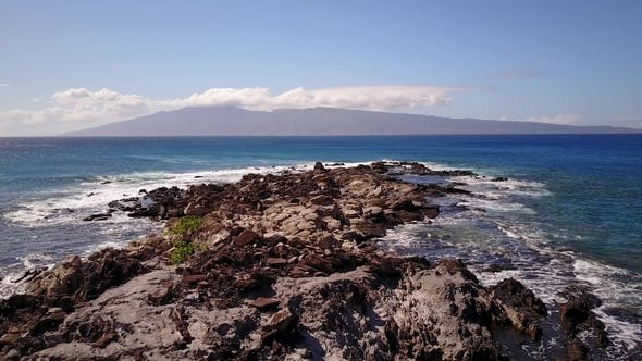 Thumbnail for Waters of Pacific Oceans Splashing Against Stones on Islands Maui,hawaii