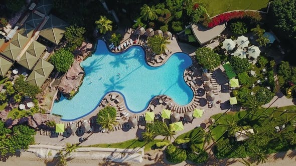 Thumbnail for Wonderful Areal Picture of Beautiful Resort Hyatt with Swimming Pool Surrounded By Tropical Trees on