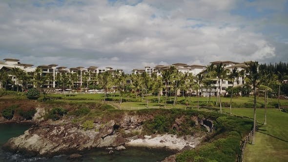 Thumbnail for Palm Park Panorama Near the Most Famous Resort Montage Kapalua on the Shore Under Sky with Clouds