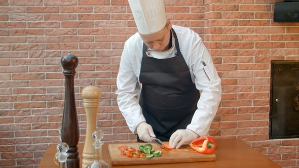 Thumbnail for Chef Cutting Bell Pepper for Salad