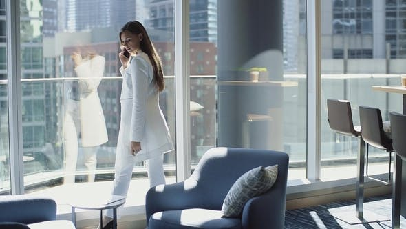 Thumbnail for Perfect Businesswoman in Modern Office with Big Window