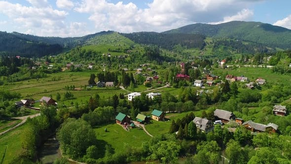 Thumbnail for Aerial View of the Village Landscape in Mountains. Vorohta, Ukraine
