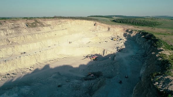 Fly Over a Mountain Stone Quarry