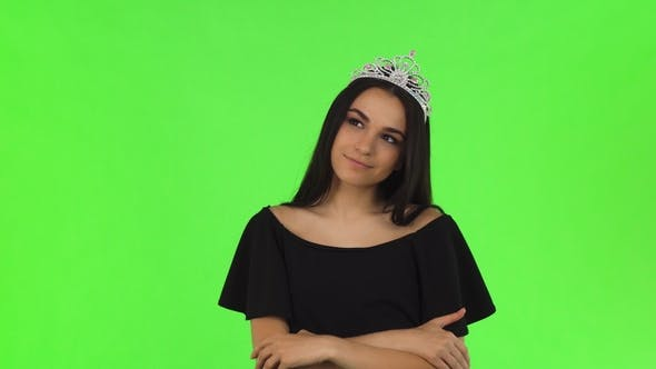 Thumbnail for Beautiful Prom Queen Wearing a Crown on Chromakey Background