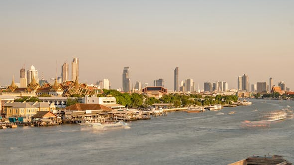 Bangkok, Thailand, Timelapse  - The Chao Phraya River from day to night