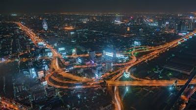 Bangkok, Thailand, Timelapse  - Bangkok's city traffic at night