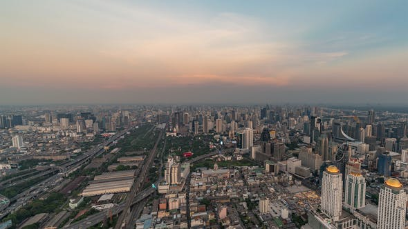 Thumbnail for Bangkok, Thailand, Timelapse  - The city of Bangkok from Day to Night