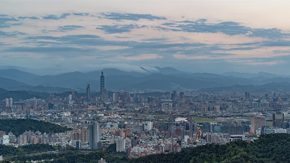 Thumbnail for Wide angle view of Taipei's downtown from the Mountains