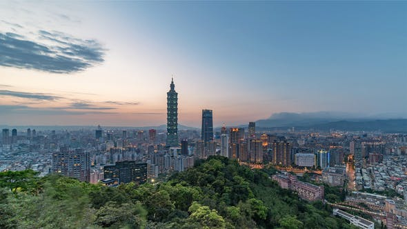 Thumbnail for Taipei, Taiwan, Timelapse  - Wide Angle view of Taipei's downtown from day to night