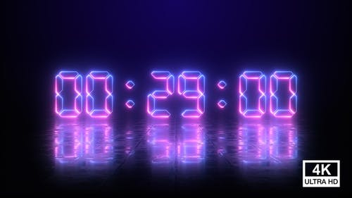 Digital Neon Negative Countdown 30 Seconds 4K