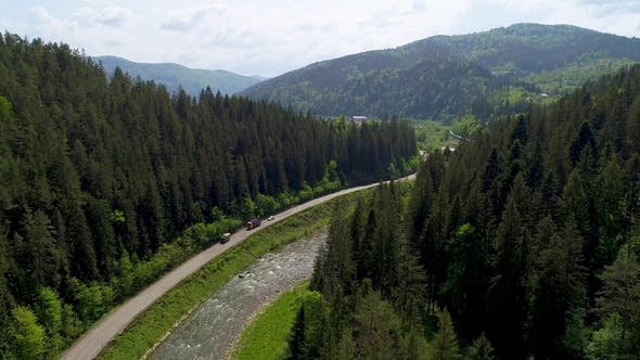 Thumbnail for Beautiful Aerial View To the Road in the Mountains. River Between Mountains