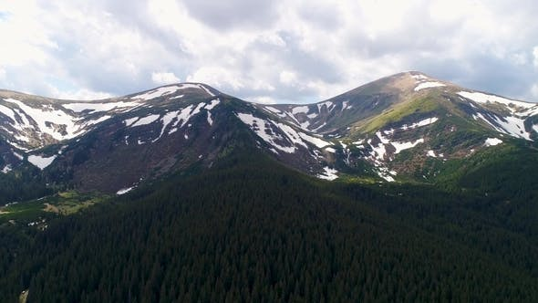 Aerial Panoramic View of Mount Hoverla or Goverla, Ukraine Carpathian Mountains