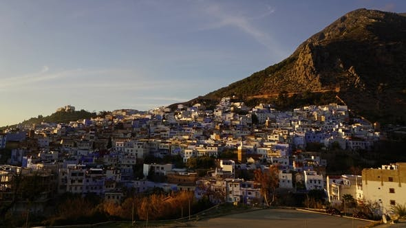 Thumbnail for Famous Medina Blue City Chefchaouen at Sunset