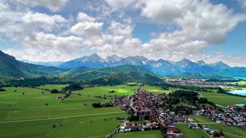 Panorama From the Air Forggensee and Schwangau, Germany, Bavaria
