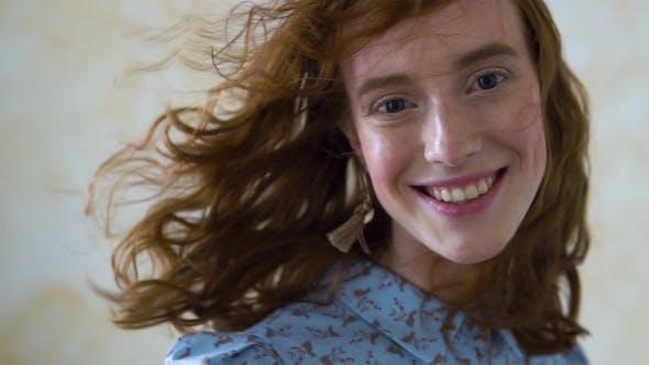 Thumbnail for Cheerful Redhead Girl Smiling Laughing Looking at Camera