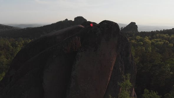 Aerial View of the Rocks in the Siberian Nature Reserve Stolby.