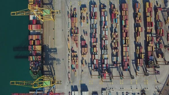Thumbnail for Aerial View of the Commercial Port of Valencia. Container Terminal and Ship During Loading