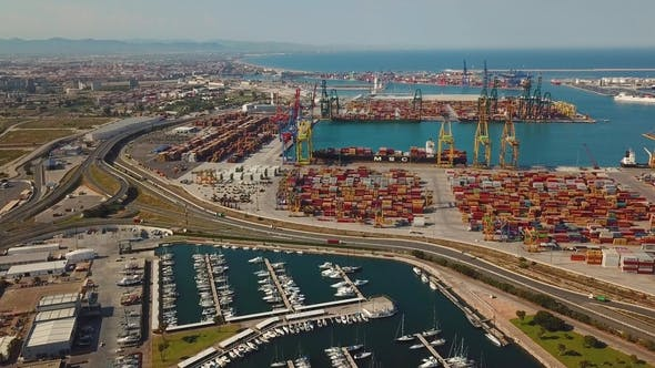 Thumbnail for Aerial View of the Commercial Port and the Marina with Yachts in Valencia