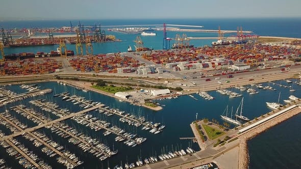 Commercial Port and the Marina with Yachts in Valencia