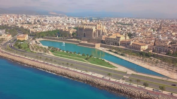 Cover Image for Aerial View of the Promenade and the Cathedral of Palma De Mallorca in Majorca