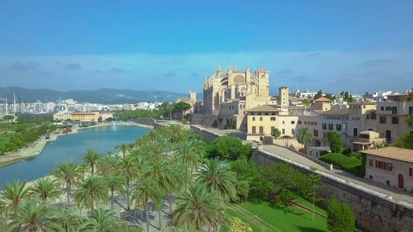 Thumbnail for Aerial View of the Promenade and the Cathedral of Palma De Mallorca in Majorca