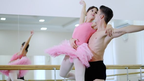 Thumbnail for Rehearsal in the Ballet Hall or Studio with Minimalism Interior. Young Professional Sensual Dancer's