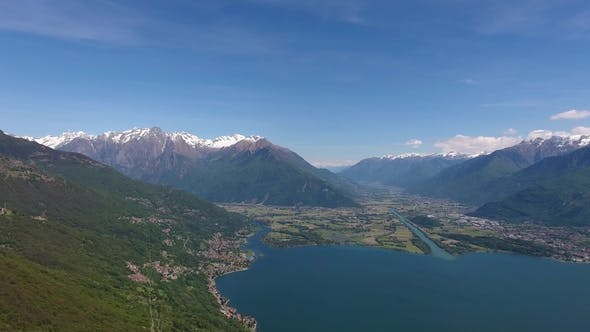 Thumbnail for Aerial Landscape on Como Lake Between Mountains