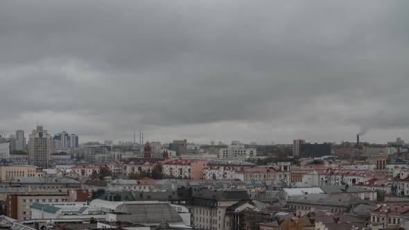Cover Image for Lots of Colorful Rooftops of a Big City in Cloudy Rainy Day. Minsk City