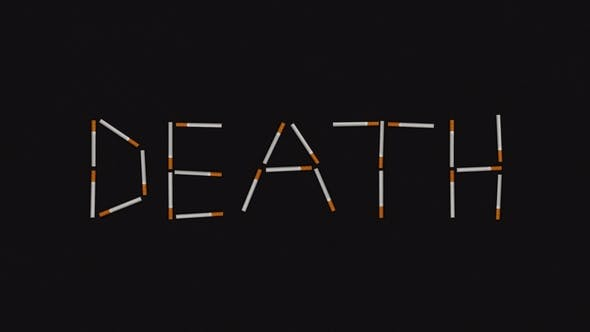 Thumbnail for Death Word Written with Moving Cigarettes. No Smoking Concept in Stop Motion Animation