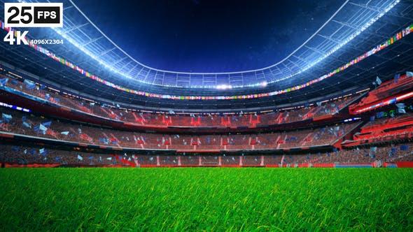 Thumbnail for Flying On Grass In Stadium Night 4K
