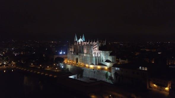 Thumbnail for Aerial View at Night. Palma Cathedral of Santa Maria at Night in Palma Mallorca Spain