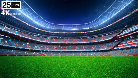 Thumbnail for Skyblue Flying On Grass In Stadium Night 4K