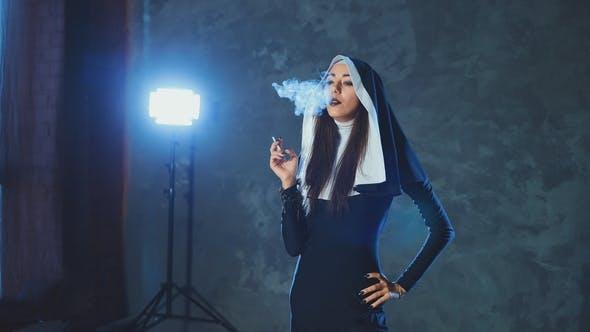 Beautiful Catholic Nun Smokes. Rotten Religion