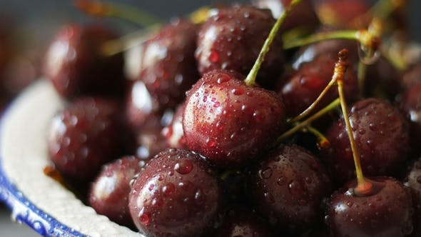 Thumbnail for Sweet Fresh Cherries with Dew Drops