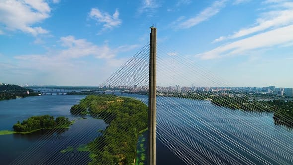 Thumbnail for Aerial View of the South Bridge. Aerial View of South Subway Cable Bridge. Kiev, Ukraine