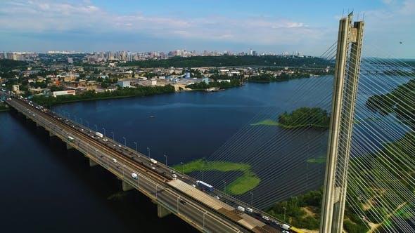 Aerial View of the South Bridge. Aerial View of South Subway Cable Bridge - Kiev, Ukraine