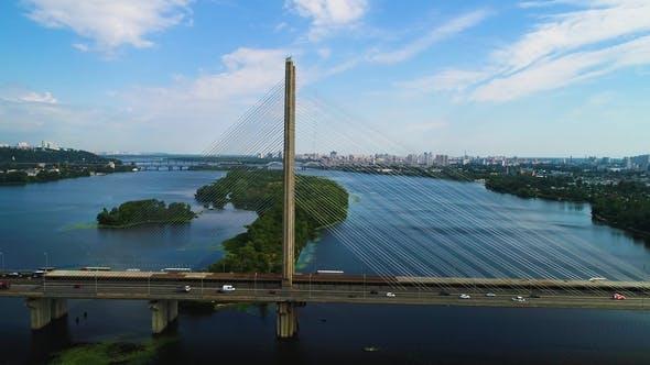 Thumbnail for South Bridge. Aerial View of South Subway Cable Bridge. Kiev, Ukraine.