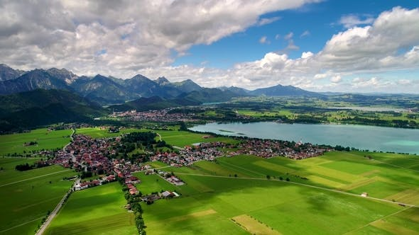 Cover Image for Panorama From the Air Forggensee and Schwangau, Germany, Bavaria