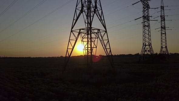 Thumbnail for Sunset and High-voltage Power Pylon