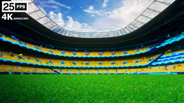 Thumbnail for Yellow Flying On Grass In Stadium 4K