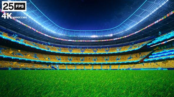 Thumbnail for Yellow Flying On Grass In Stadium Night 4K