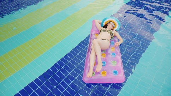 Cover Image for An Attractive Woman Is Floating on an Inflatable Mattress in the Pool