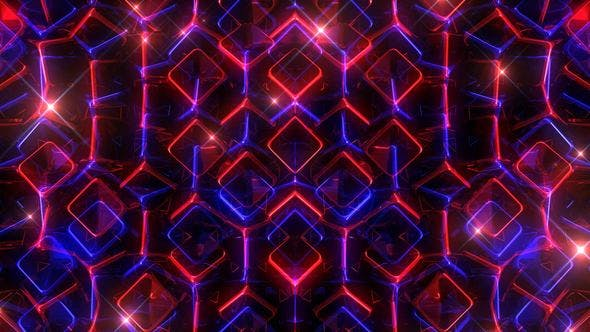 Glowing Blue And Red Cubes