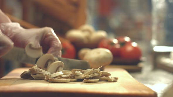 Thumbnail for Cutting Champignons on Cutting Board