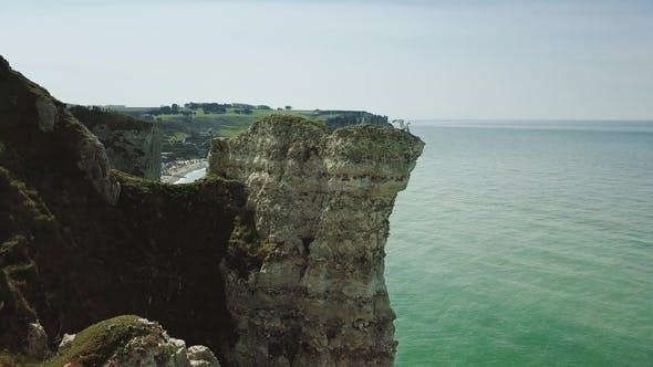 Drone Video Footage of the Famous Falaises d'Etretat Etretat Cliffs in Normandy
