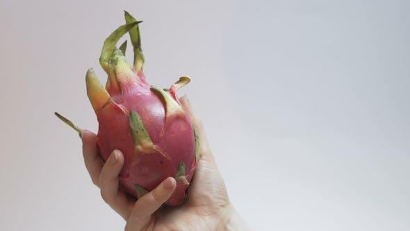 Dragon Fruit, Pitaya, on a White Background