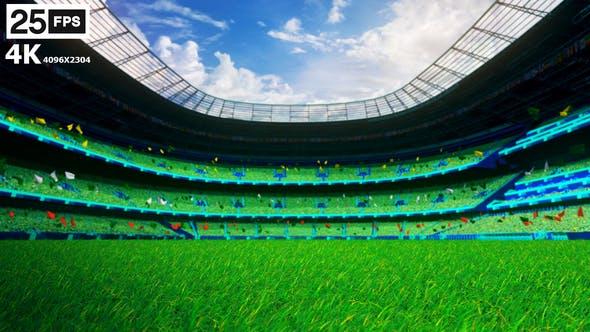 Thumbnail for Green Flying On Grass In Stadium 4K