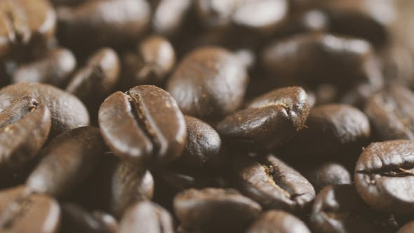 Thumbnail for Langsame Rotation des Haufen Kaffeebohnen