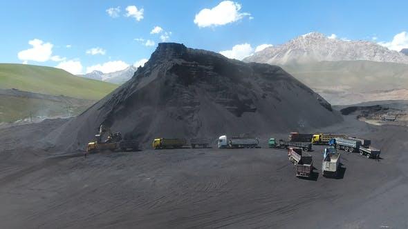 Coal mine and trucks