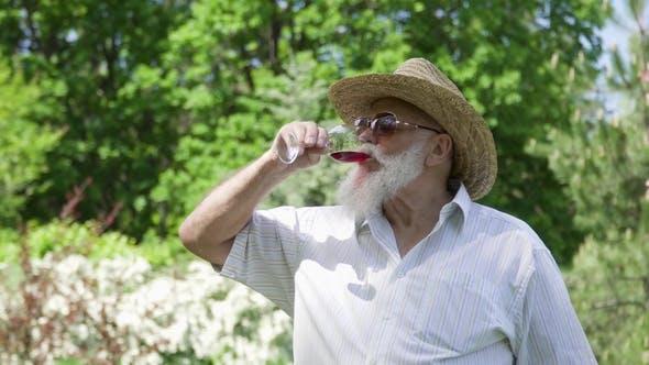 Thumbnail for Senior Man Drinking Red Wine
